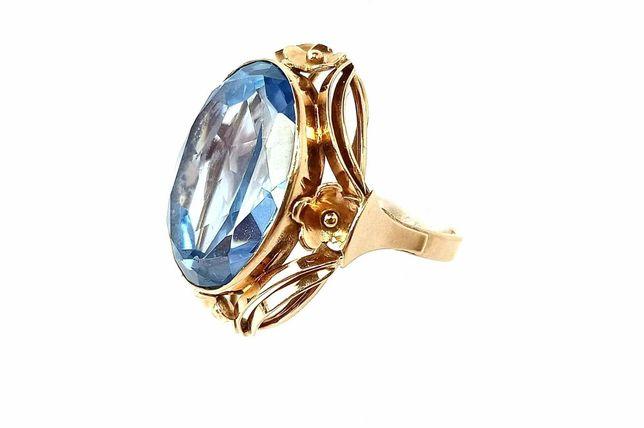 Złoty pierścionek synt. spinel niebieski 11,31g 585 R17