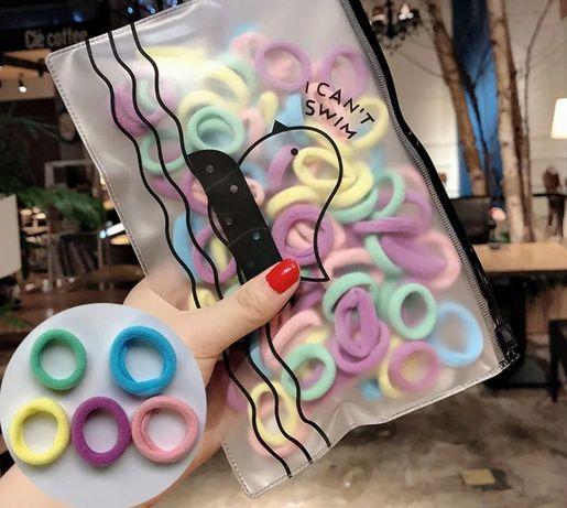 Резинки для волос 100 штук диаметр 2.5-3 см