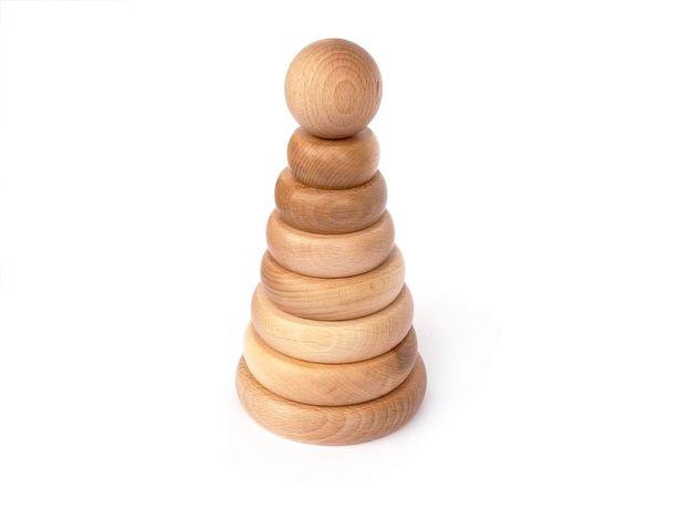 Piramidka drewniana Montessori, układanka drewniana