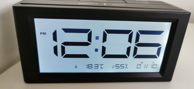 Budzik, zegar z alarmem temperatura wilgotność