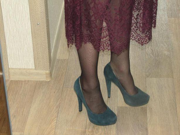 Синие замшевые туфли 36р