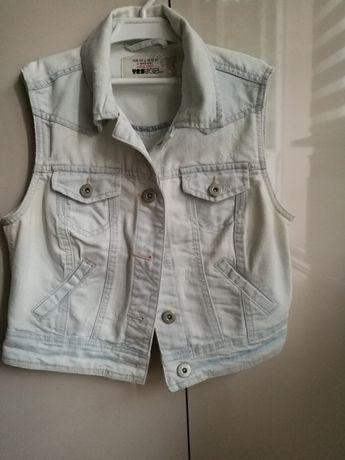Narzutka kurtka jeans bez rękawów kamizelka damska roz 38 M new look