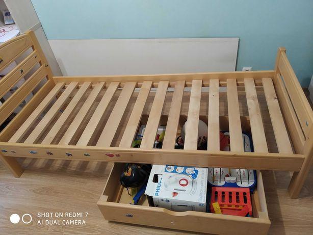 Обалденная детская кровать дерева (Бук) с двумя ящиками