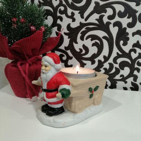Подсвечник керамический Санта Клаус Новогодний декор