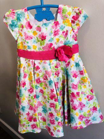 Vestido de Seda com Flores Colorido
