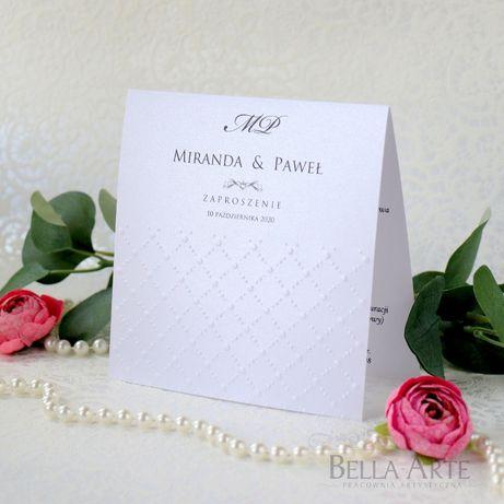 Eleganckie Zaproszenia na ślub zawiadomienia ślubne Perłowe Tłoczone