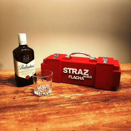 Skrzynka na alkohol wino prezent dla strażaka OSP remiza