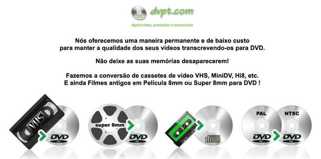Conversão de filmes super 8 ou 8mm para DVD