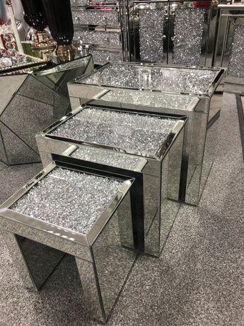 Stoliki lustrzane różne wzory w stylu Glamour