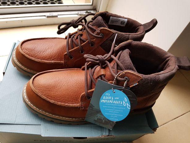 nowe męskie buty skórzane wodoodporne roz.42 kol brąz firmy TOMS
