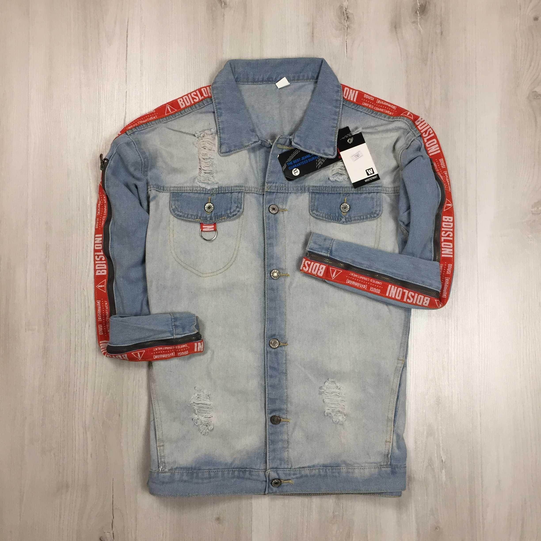 NEW M Джинсовая куртка с лампасами голубая джинсовка курточка новая