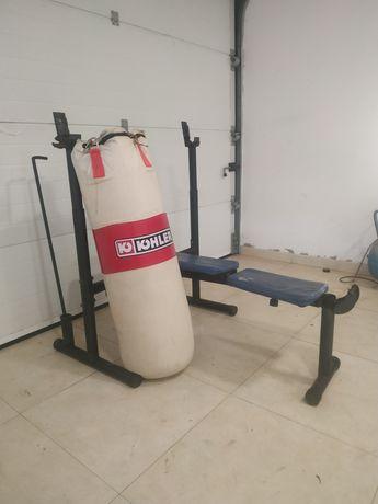 Banco musculação saco boxe