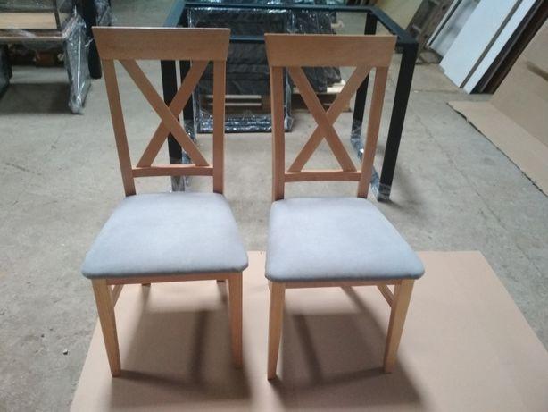 Krzesła krzyżak drewniane bukowe tapicerowane 4szt