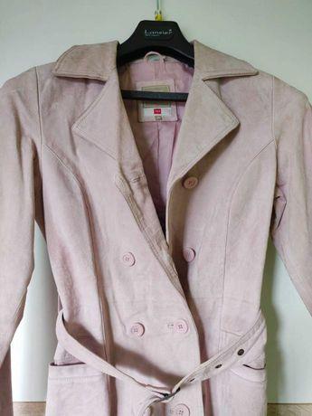 Zamszowy płaszcz damski skóra naturalna rozmiar 36