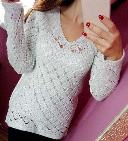 Miętowy sweter MaX Studio ażurowy rozmiar S M