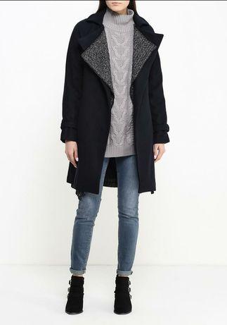 Пальто темносинее шерсть демисезонное Lost Ink размер М