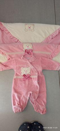 Babygrow e mantinha dupla bebé menina