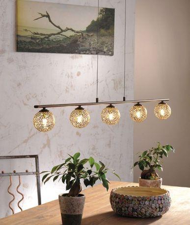 Stylowa lampa wisząca nad stół/wyspę złota/brązowa GRETA 2040-48 Paul