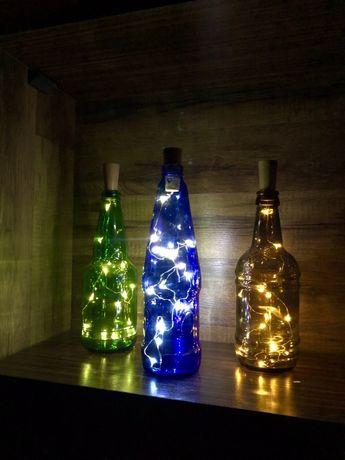 Декоративный ночник, светящаяся бутылка, дизайнерский светильник