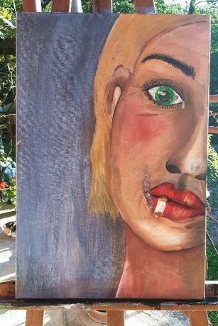 """Obraz olejny 60x40cm """"Smutna kobieta"""""""