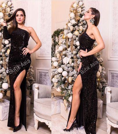 Sukienka Emo Amanda czarna asymetryczna maxi długa sexi cekiny 34,36