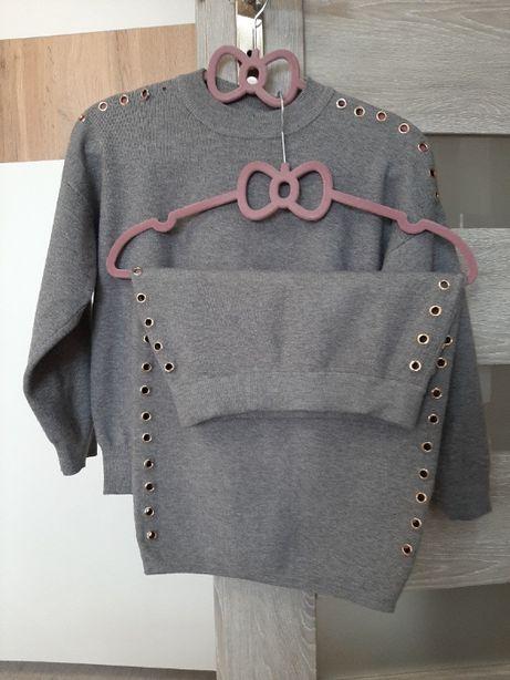 szary komplet spódnica + bluzka r. S/M