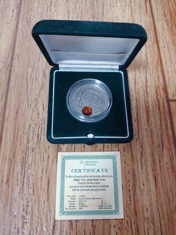 монета 1 доллар 2009 год НИУЭ Эльблонг Янтарный путь монета НИУЭ серии