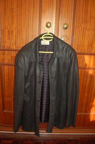 casaco sobretudo jacket em PELE