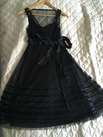 Nowa Elegancka czarna sukienka ręcznie wyszywana Cena ostateczna