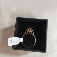 złoty pierścionek z różowym oczkiem , lombard madej sc