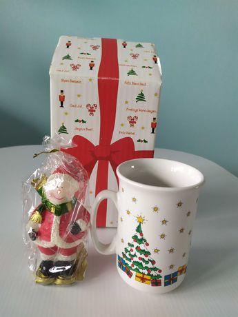 Чашка и свечка новогодние в подарочной коробке