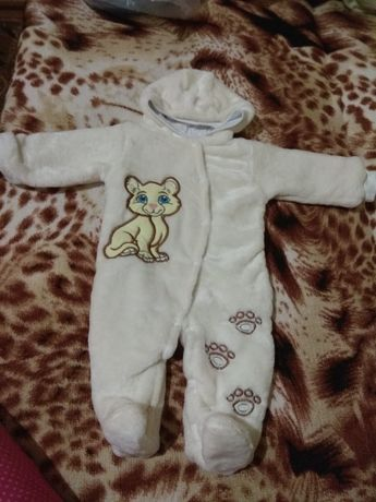Комбенизон(человечек) для новорожденного рваная махра
