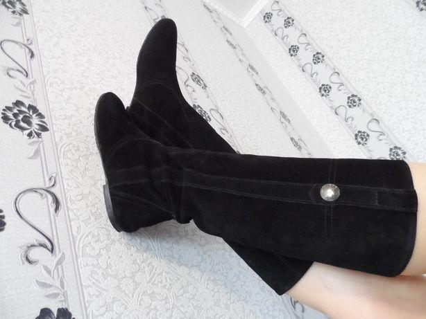 Сапоги сапожки черные замшевые 36 размер замша кожа натуральные