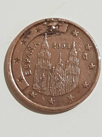 Moeda 5 cêntimos espanhola com defeito de cunho.