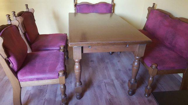 zestaw mebli ciemny wiśniowy krzesła