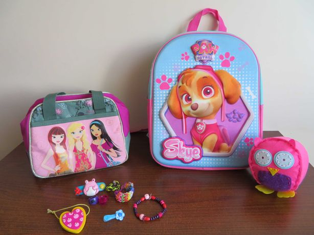 ZESTAW plecak 3D do przedszkola Skye PSI PATROL torebka, spinki, sówka