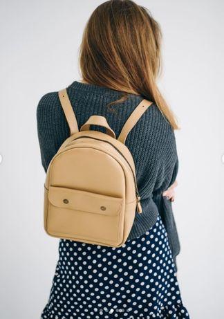 Женский кожаный рюкзак в цвете капучино