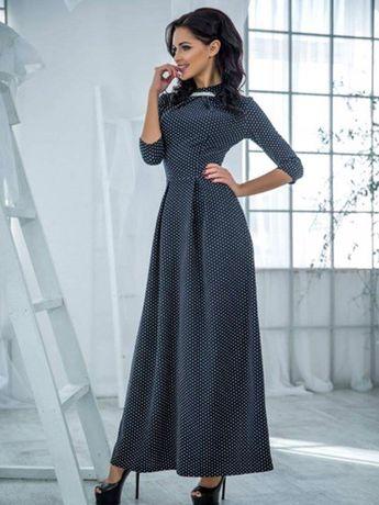 Платье черное в горох Love fashion -цена снижена!