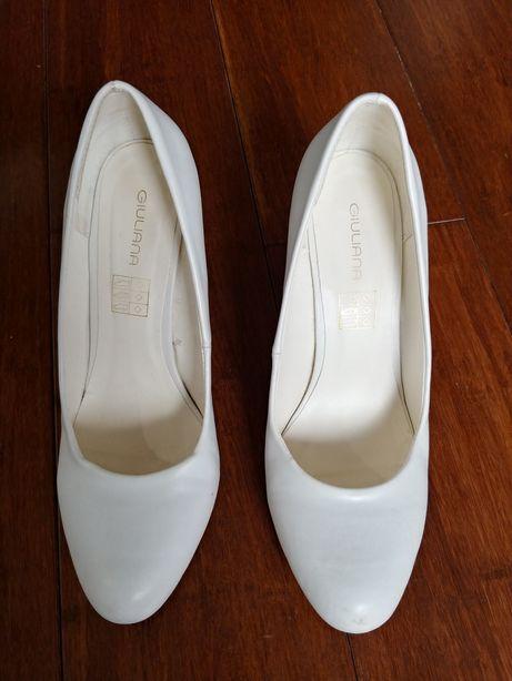 Buty ślubne 39 białe szpilki