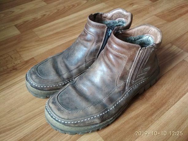 ботинки мужские зимние/кожаные-нубук/на меху/толстая подошва/для работ