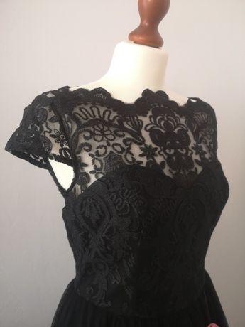 Czarna koronkowa suknia wieczorowa Midi Nowa z metką