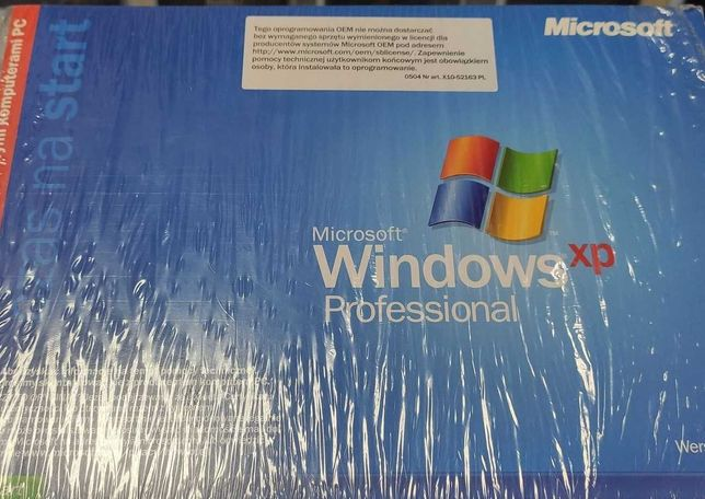 Windows XP Professional SP2 OEM, CD, licencja, kod naklejka