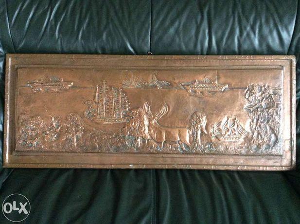 Antyk Stary duży obraz relief płaskorzeźba z miedzi ręcznie wykonany