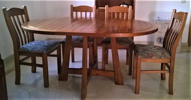 Mobília sala / 1 mesa , 6 cadeiras e 1 sofá-cama (madeira maciça)
