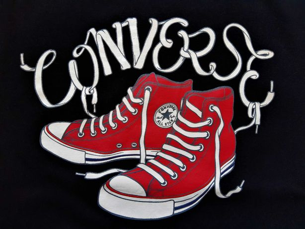 Converse Koszulka Bluzka T-shirt Długi Rękaw Damska Czarna Bawełna
