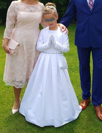 sukienka komunijna + dwa bolerka i torebka rozm. 140, 9 lat