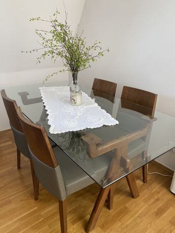 Szklany stół + 4 krzesła
