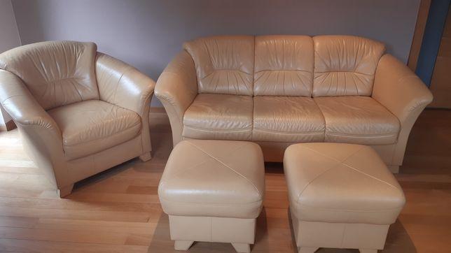 Meble wypoczynkowe KLER zestaw sofa + fotel + 2 pufy