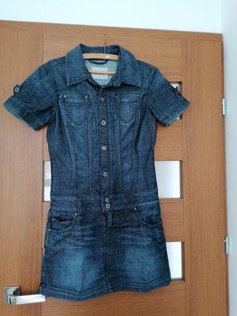 Super Jeansowa sukienka r. 38, a la szmizjerka