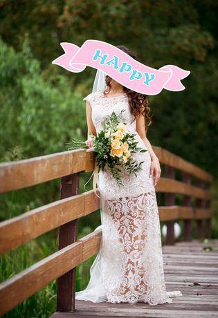 Свадебное вечернее платье 2в1 S-M весільна сукня айвори пудра vasylkov